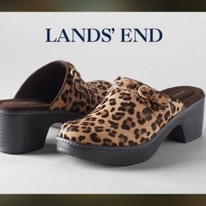 Lands' End Calf Hair Leather Leopard Carly Clogs